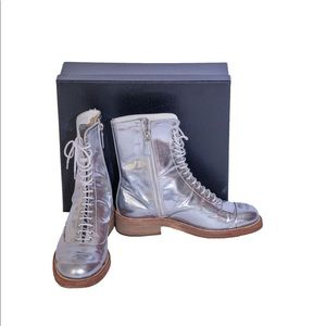 Chanel Runway Silver Patent Leather Combat Boot 39